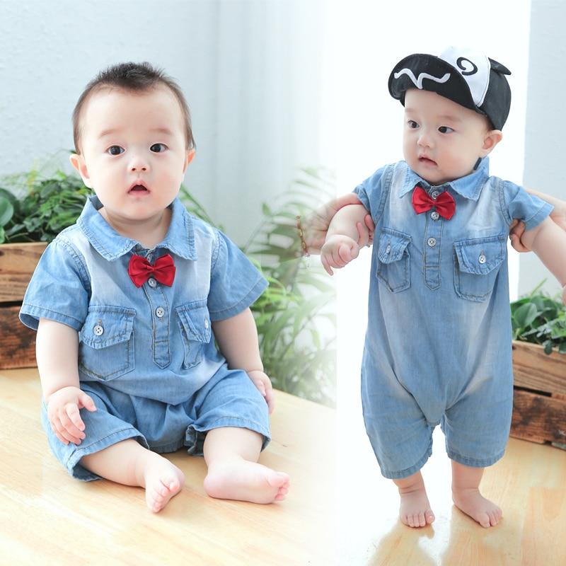Verano nuevos bebés varones de mezclilla Tie mono de algodón monos - Ropa de bebé