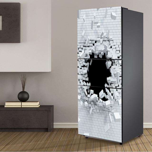 yazi Brick Holes 3D Effect PVC Self Adhesive Refrigerator Sticker Fridge Door Cover Refurbished Wallpaper 60x150cm & yazi Brick Holes 3D Effect PVC Self Adhesive Refrigerator Sticker ...