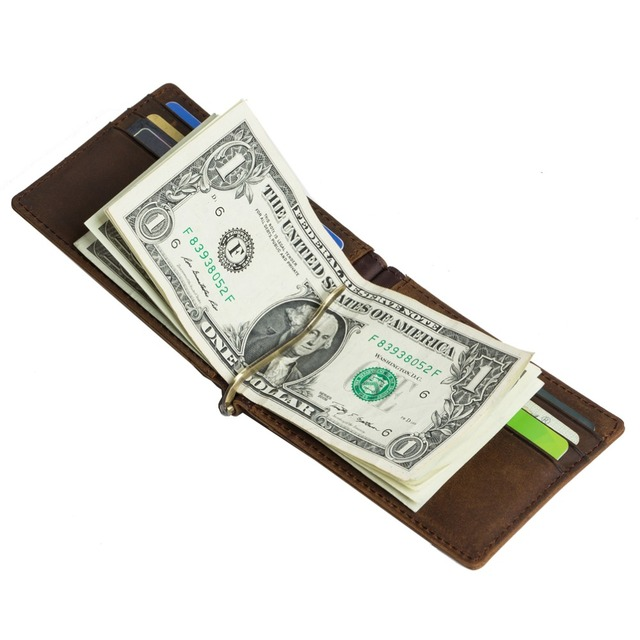 New Vintage 100% Genuine leather men's money clips high quality card wallet cow Leather men's billfold JM-01502