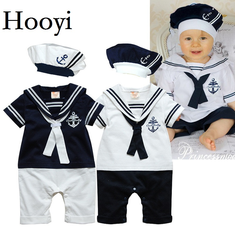 Hooyi Sailor Baby Boy Short Rompers Cool Baby Navy Beret Cap Fashion 100% Cotton Infant Clothes Costumes Seaman Jumpsuit Overall 2016 summer short sleeve baby boy sailor suit jumpsuit infant clothing navy newborn baby rompers