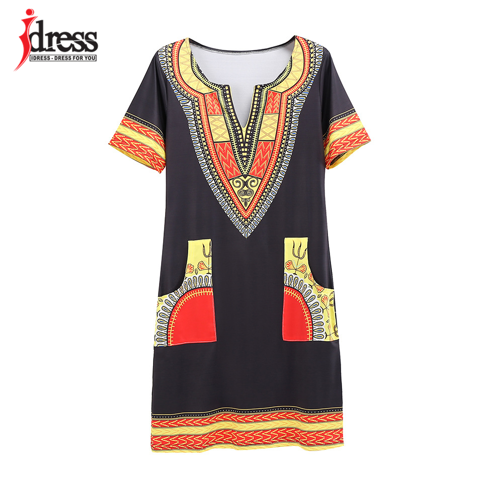 IDress S-XXXL Plus Size Sexy Casual Summer Dress Women Short Sleeve Party Dresses 2017 Black Vintage Traditional Printed Dresses (17)