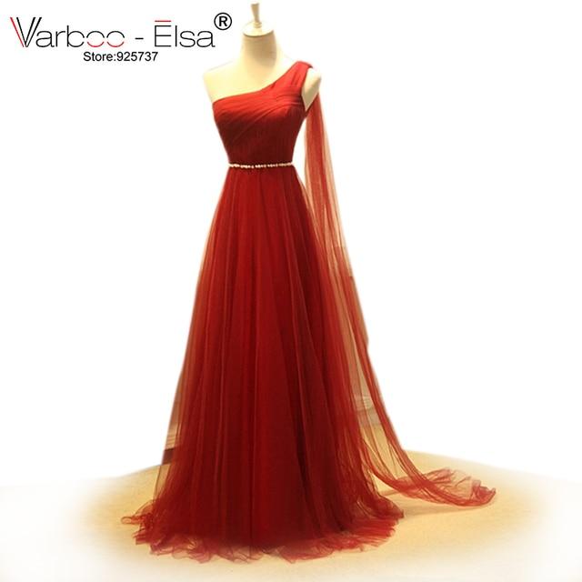 09434f0fa4 Elegancka cienka wino czerwone suknie wieczorowe 2018 perła pas jedno ramię  długa suknia wizytowa letnie sukienki