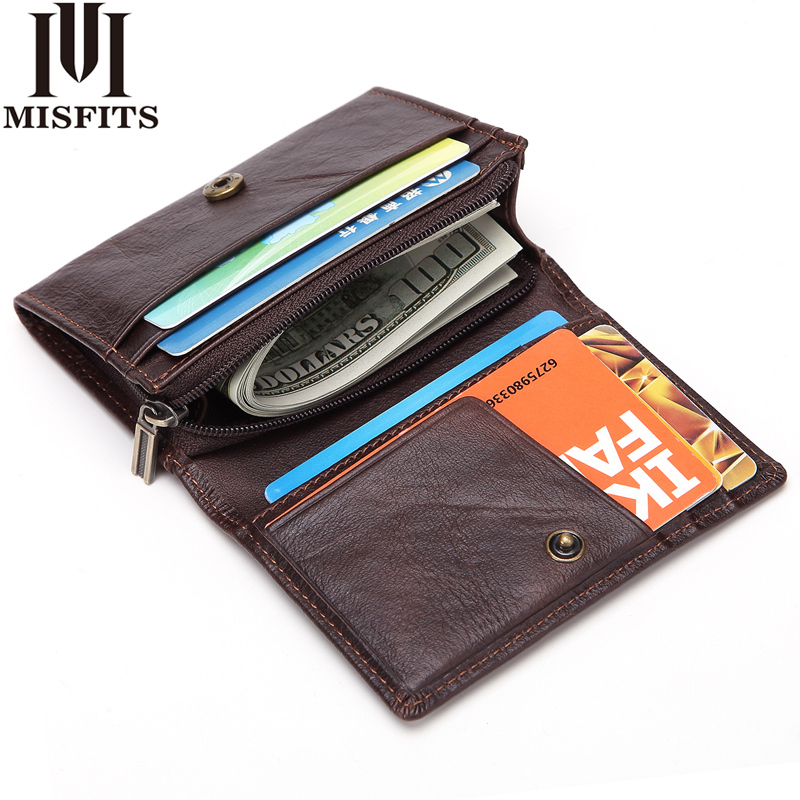 MISFITS Brand Genuine Cow Leather Mini Small Wallet Card Holder Casual Hasp Men Short Handy Zipper Coin Wallet Unisex Purse viewinbox black genuine cattle leather mini short wallet and purse small wallet feminine clutch genuine leather wallet