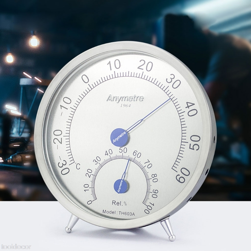 Wall Mounted Thermometer Hygrometer Stainless Steel Temperature Humidity Meter -B119 sauna accessories stainless steel and plastic temperature and humidity thermometer