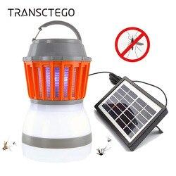 Energía Solar lámpara del asesino del Mosquito insecto Zapper trampa linterna de Camping 2in1 portátil USB Anti Mosquito polilla volar eléctrica luz UV