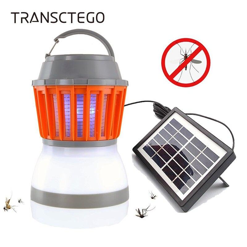 Movido a energia solar lâmpada assassino do mosquito bug zapper armadilha lanterna de acampamento 2in1 usb portátil anti mosquito traça voar luz uv elétrica