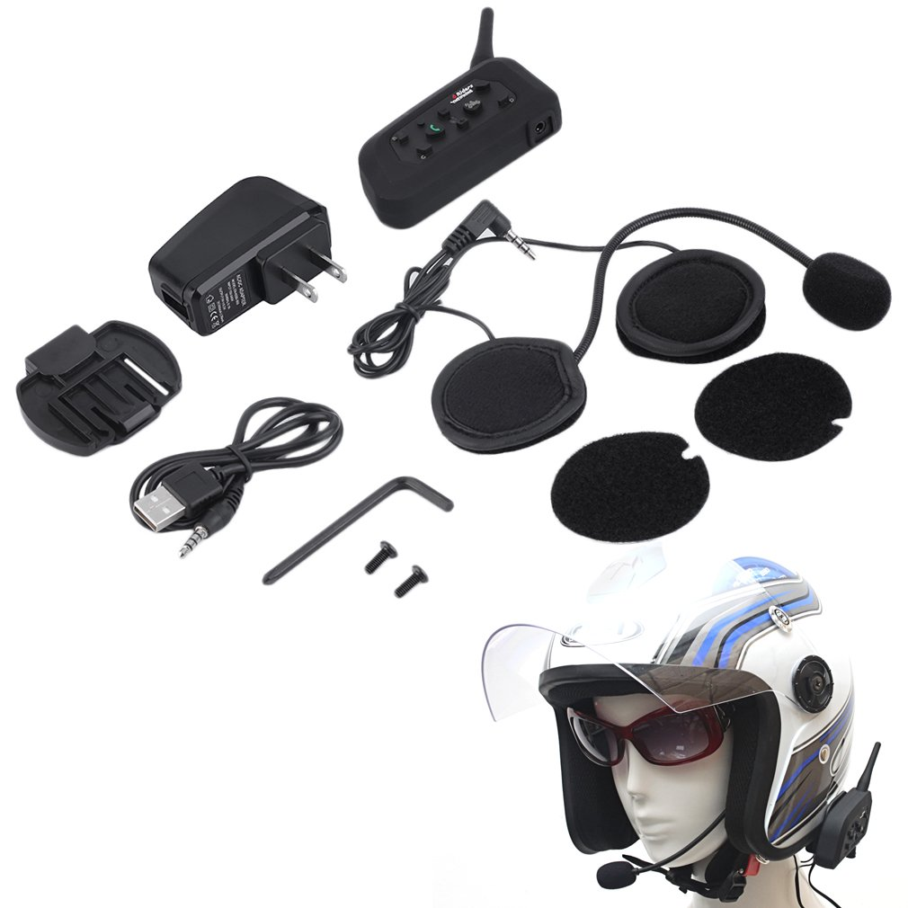 V6 Helmet Intercom 6 Riders 1200M Motorcycle Bluetooth Intercom Headset Walkie Talkie Helmet BT Interphone Plug Hot