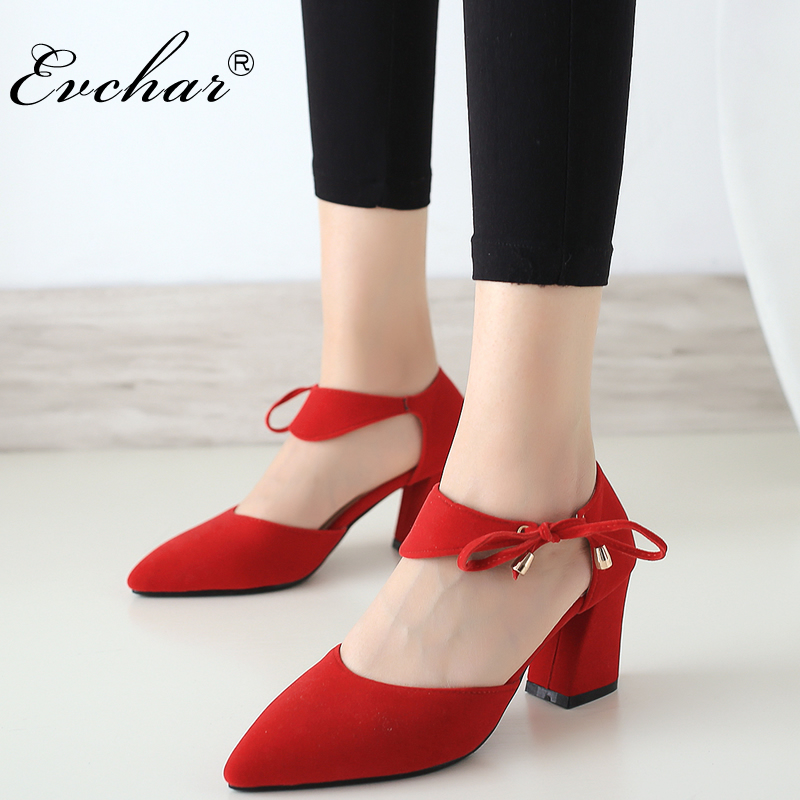 EVCHAR NEw Closed Toe Women Thick Heels Sandals Fashion Lace-Up Pointed Toe High Heels Sandals Shoes For Women big size 33-43 summer new pointed thick chunky high heels closed toe pumps with buckle ankle wraps sweet sandals women pink black gray 34 40