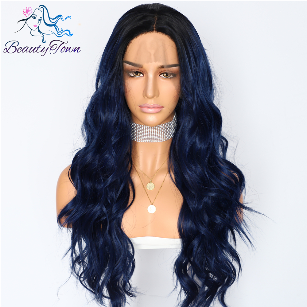 BeautyTown Silk Dark Roots Ombre Blue Natural Wave Women Queen Daily Makeup Wedding Party Present Synthetic