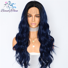 BeautyTown Silk Dark Roots Ombre Blue Natural Wave Women Queen Daily Makeup Wedding Party Present Synthetic Lace Front Wigs