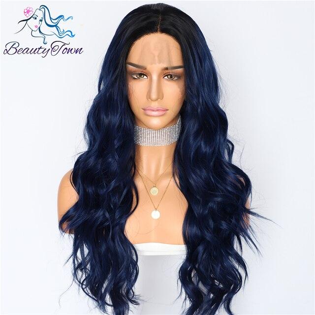 BeautyTown seda raíces oscuras Ombre azul onda Natural mujeres reina maquillaje diario boda fiesta presente encaje sintético pelucas frontales