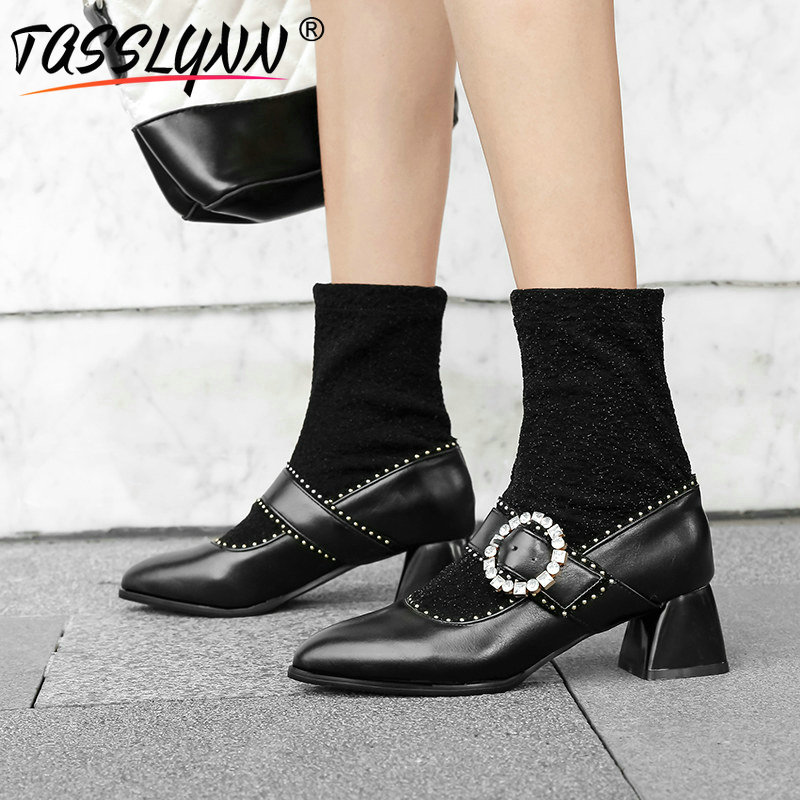 TASSLYNN 2019 Faux Suede Slim Boots Med calf Boots Slip On Pointed Toe Square Heel PU Crystal Fashion Women Boots Size 34 43 in Mid Calf Boots from Shoes