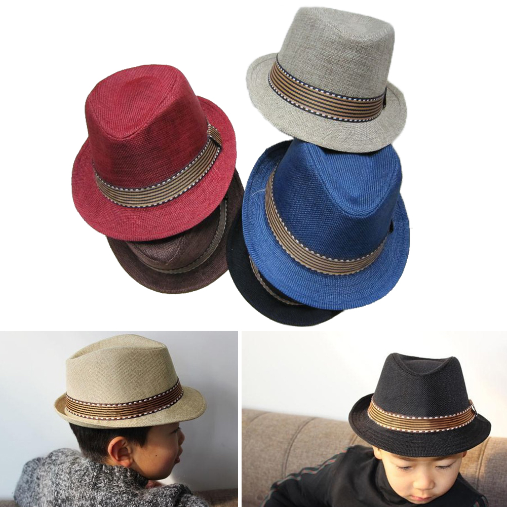 Kids Fedora Hat, Classic Fashion Cool Jazz Cap Sunhat For