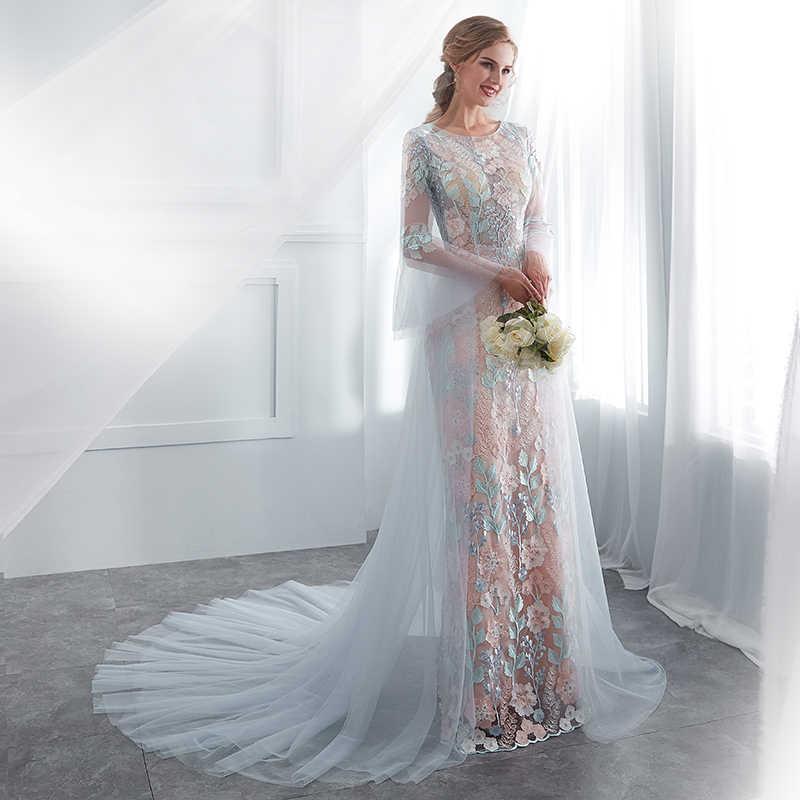 Forevergracedress צבעוני תחרה חתונה שמלות 2019 ארוך שרוולי טול פורמליות הכלה שמלות כלה בתוספת גודל תפור לפי מידה