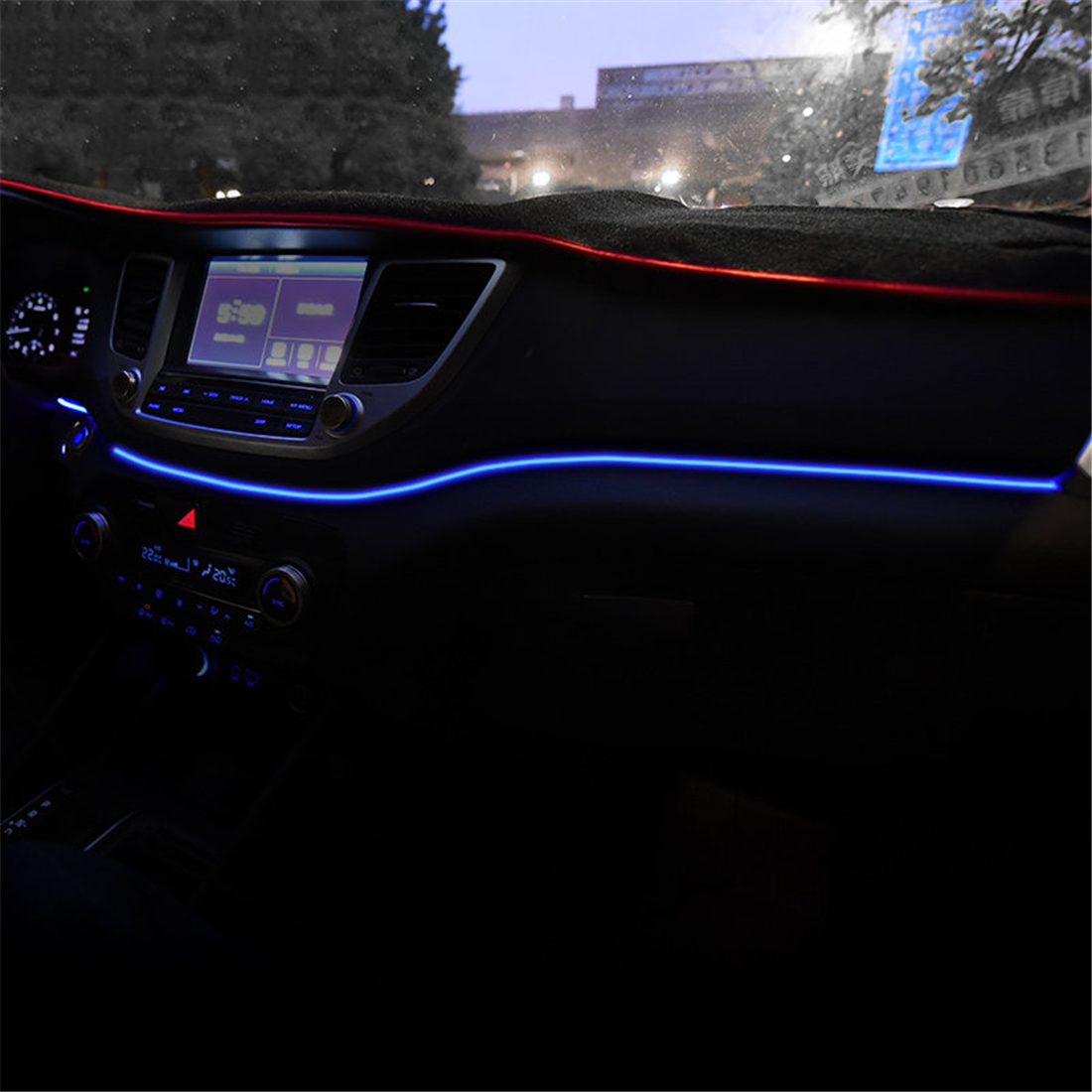 Panneau de bord garniture atmosphère lumière pour Hyundai Tucson 2015 2016 intérieur LED bleu tableau de bord cadre lumière pour Tucson 2017 2018
