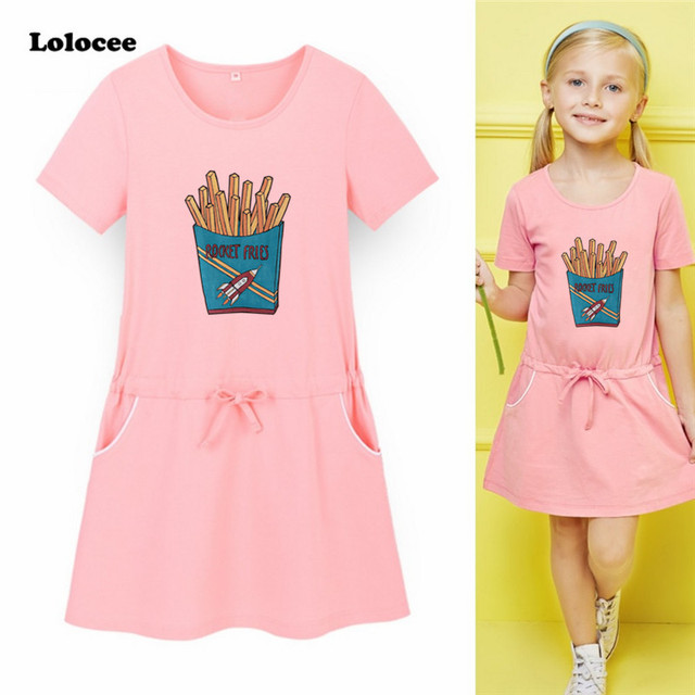0e8528ca48 Girls Cartoon French Fries Print T-Shirts Dress Hot O-Neck Casual Dress  Loose Short Sleeve Shirt Dress Sport Style