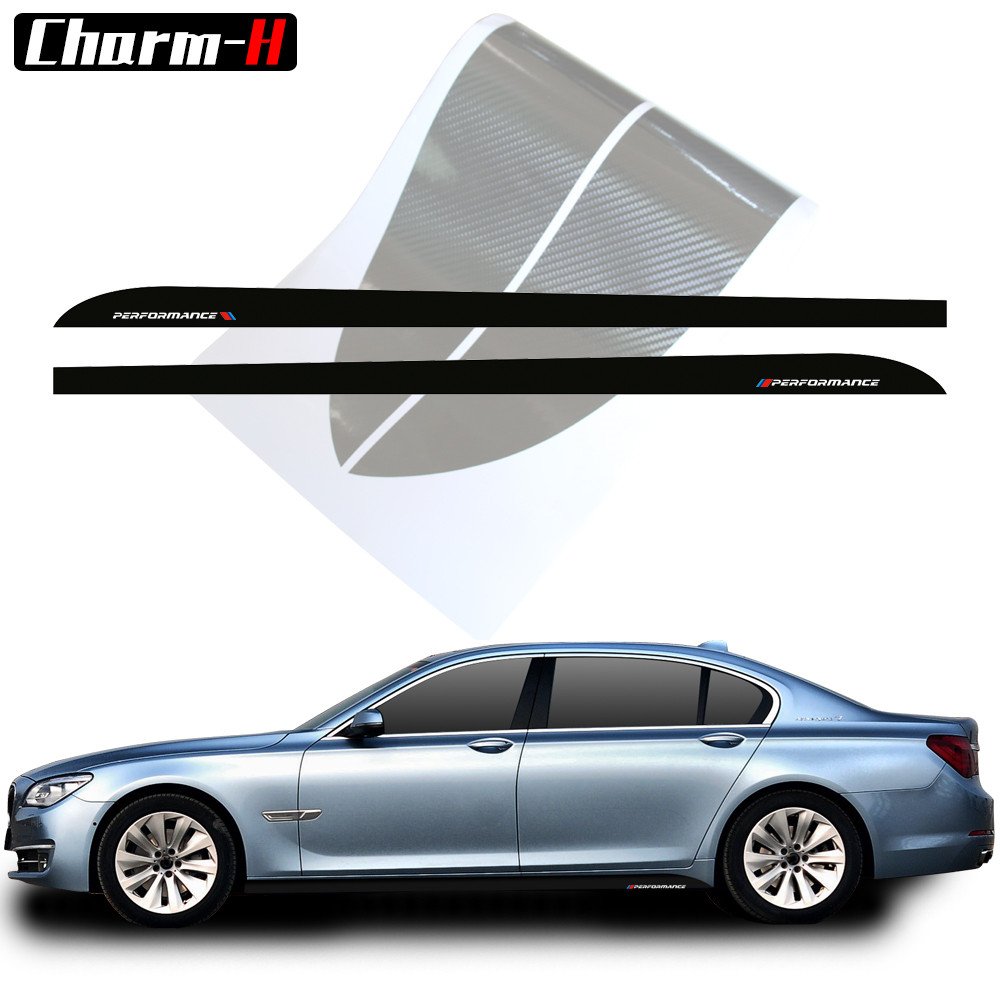 2pcs Car Styling M Performance Side Skirt Stripes Vinyl Decal Stickers For BMW 5 Series F10 F11 7 Series F01 F02 Accessories