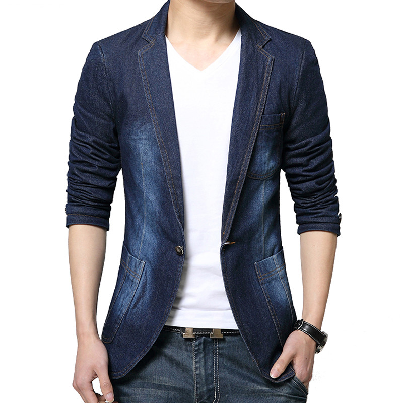 MYAZHOU Denim Blazer Men Blazer Jeans Slim Fit Cowboy Coats Leisure Mens Suit Jean Jacket Men Casual Coat Single Button New 2019