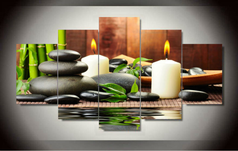 5 Panel Wall Art Botanical Green Feng Shui White Candle Painting On Canvas Pictures For Living Room Decor Jjk1353