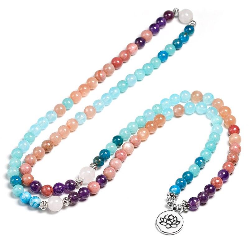 Apatite With Rhodochrosite Natural Stone Meditation Mala 108 Beads Handmade Yoga Bracelet Women Men Charm Jewelry
