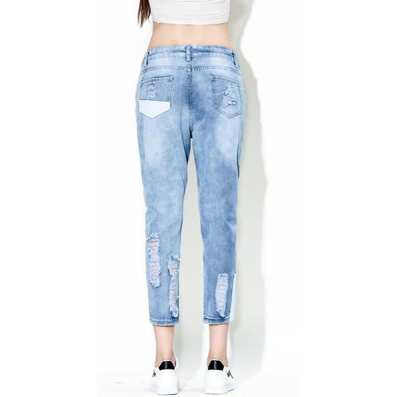 Haren Jeans Lavaggio Nuovo Minuti 2018 Modo Forcella Pantaloni Di Vita Patch Del A Dei Disegno Foro Nove Bassa Blue Kuo Primavera FBxw6H