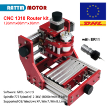 CNC1310 diy Mini wood router with ER11 rod pvc pcb aluminum metal cutting engraving machine