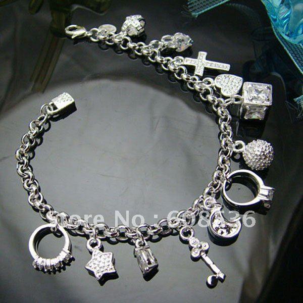 fashion jewelry, 925 Sterling Silver Jewelry Bracelets&bracelet  13 Charm,  jewelry,Brand New B82