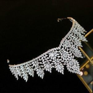 Image 4 - High quality zirconia wedding hair accessories bridal tiara award ceremony queen crown