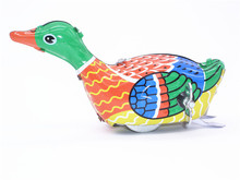 New Classic Vintage Retro WIND UP DUCK GOOSE Walking Metal Tin Toy Swimming Duck Tin Kids Toy For Children Sports toys