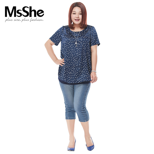 Msshe Plus Size Women T Shirt Summer Style Fashion T Shirt Short Sleeve Casual Girls Ladies Top Clothing Chubby Girl On Sale