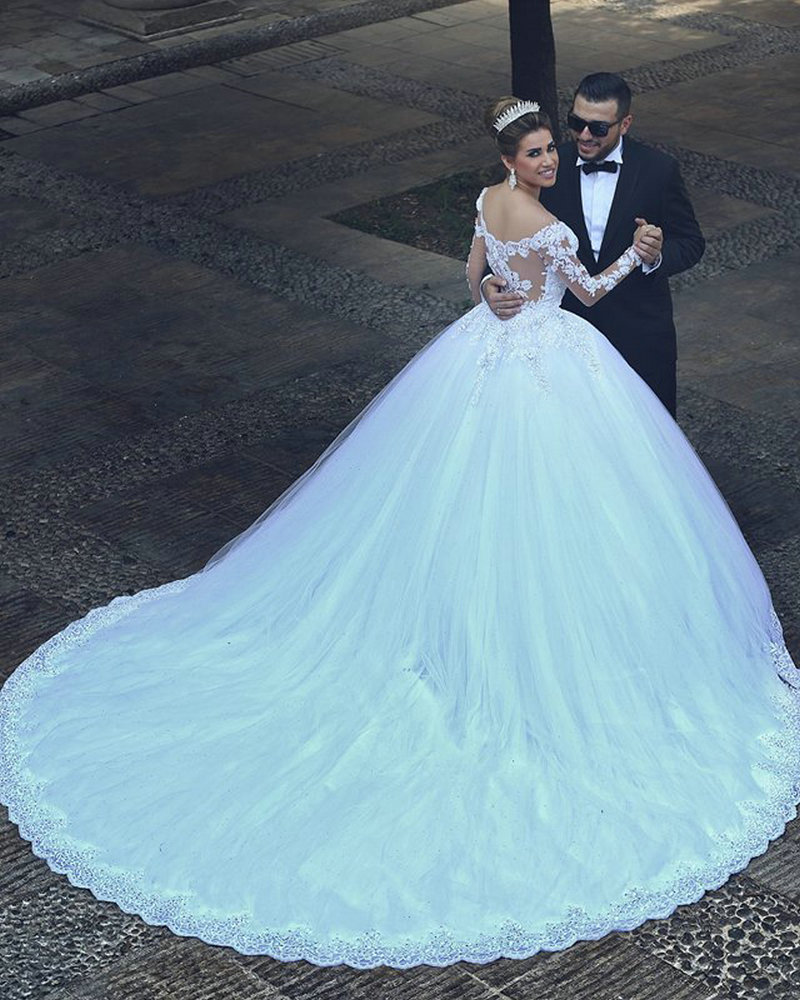 Cathedral Royal Train Wedding Dress Said Mhamad 2017 Ball Gown Full Sleeve Lace White With Veil In Dresses From Weddings Events On