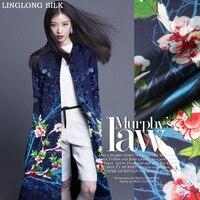 PRINTED SILK WOOL SATIN 1 4M Width 40mm 28 Silk 71 Wool Satin Fabric Blue Silk
