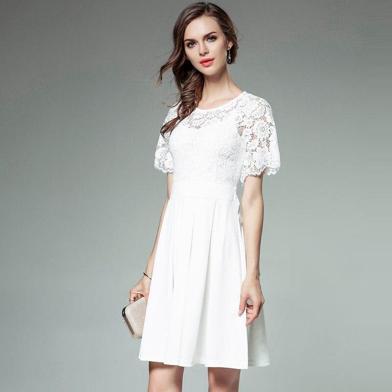 f0daeb5fa121 Feminina blanc Patchwork Robes Rose Élégante Casual Noir Vintage Robe 2018  D été Femmes Dentelle Blanc Mode ...