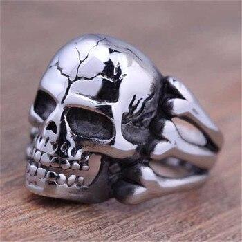 Vintage plata negro tibetano plata esqueleto anillo Retro Rock Punk vampiro calavera anillo hombres moda anillo