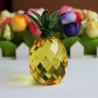 XINTOU Crystal Glass Pineapple miniature Figurine Craft Paperweight Feng shui figurines miniatures Home Decoration Accessories