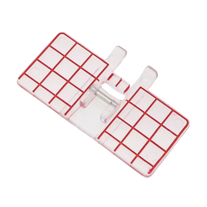 1Pcs Plastic Parallel Straight Seam Splice Sewing Machine Foot Clear Red Line Presser Feet for Household Machines
