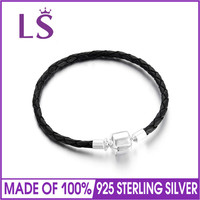 LS Genuine 925 Sterling Silver Charm Black Leather Bracelets For Women Stamped S925 Bracelets Bangles Silver