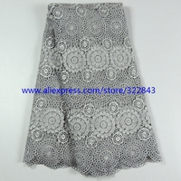 High quality gray guipure lace fabric for lady cloth / african cord cupion lace fabric /chemical water soluble lace fabrics1202B