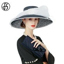 30234170d227d FS británico señoras Iglesia vestido para las mujeres azul real sombrero  Sinamay boda Kentucky Fascinator Derby arco grande ala