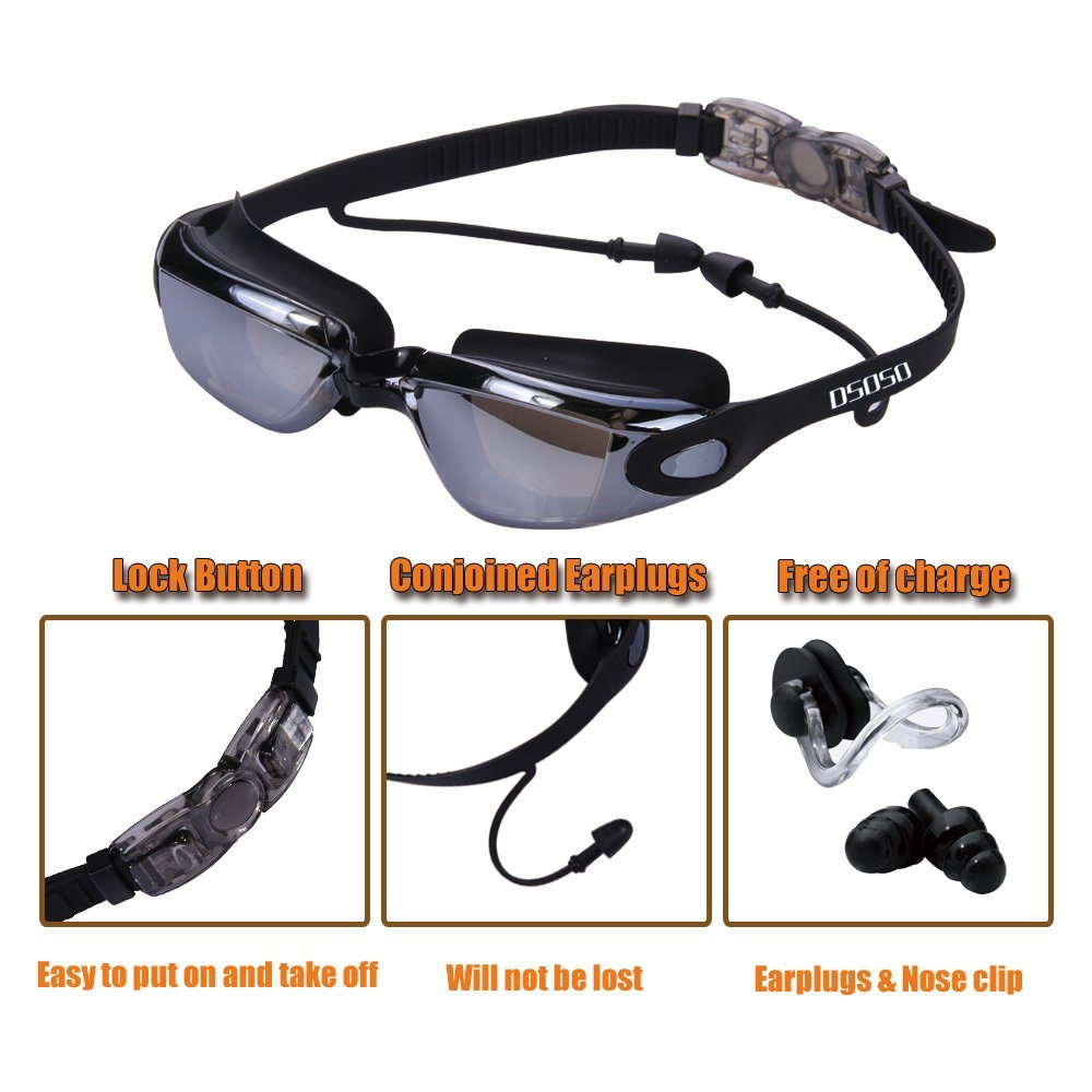 Waterproof Suit HD Anti-Fog 100% UV Adjustable Prescription Swimming Goggles Unisex 5