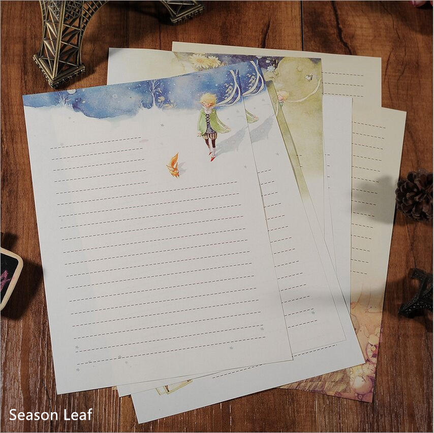 Cartoon Fairy Tales The Little Prince Story & Retro Four Season Plants Flowers Painting Letter Paper Writing Paper Stationery