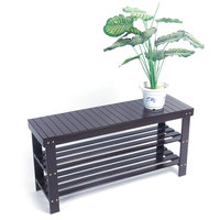 US Shoe Cabinet 90cm Strip Pattern 3 Tiers Bamboo Stool Shoe Rack Coffee Color Stool Bench Dropshipping