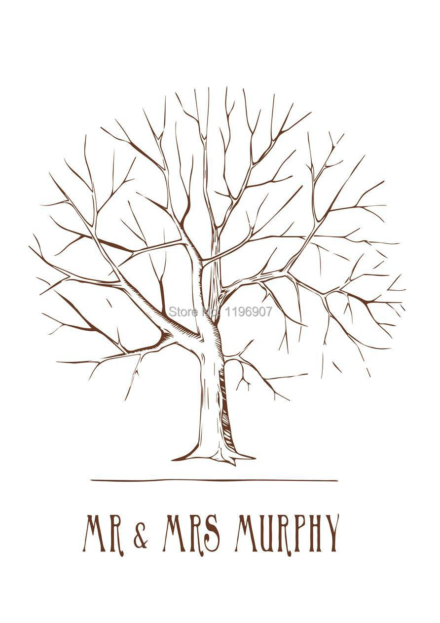 60 80 cm wedding party fingerprint guestbook vintage tree prints