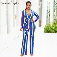 Women Sexy Blue Vertical Striped Jumpsuit Female 2018 Summer Knitted Pattern V Neck Long Sleeve Full Length Wide Leg Jumpsuit