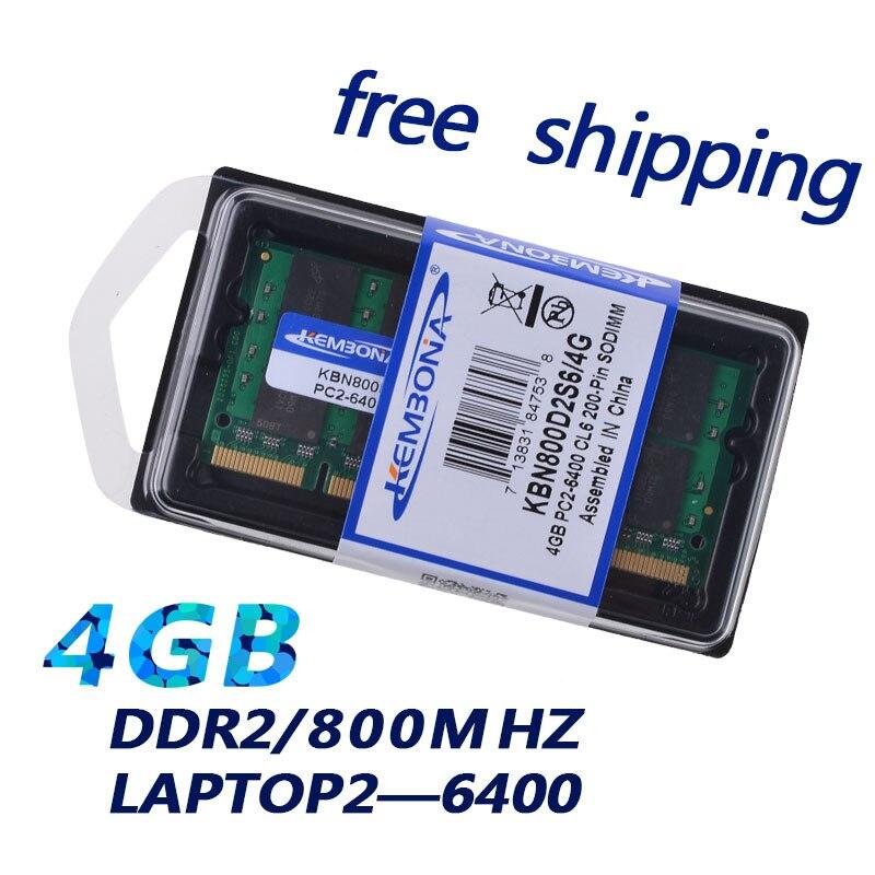 KEMBONA ordinateur portable DDR2 4 GB 16 puces mémoire sodimm ram 800 mhz pour ordinateur portable portable 200pin mémoire ram