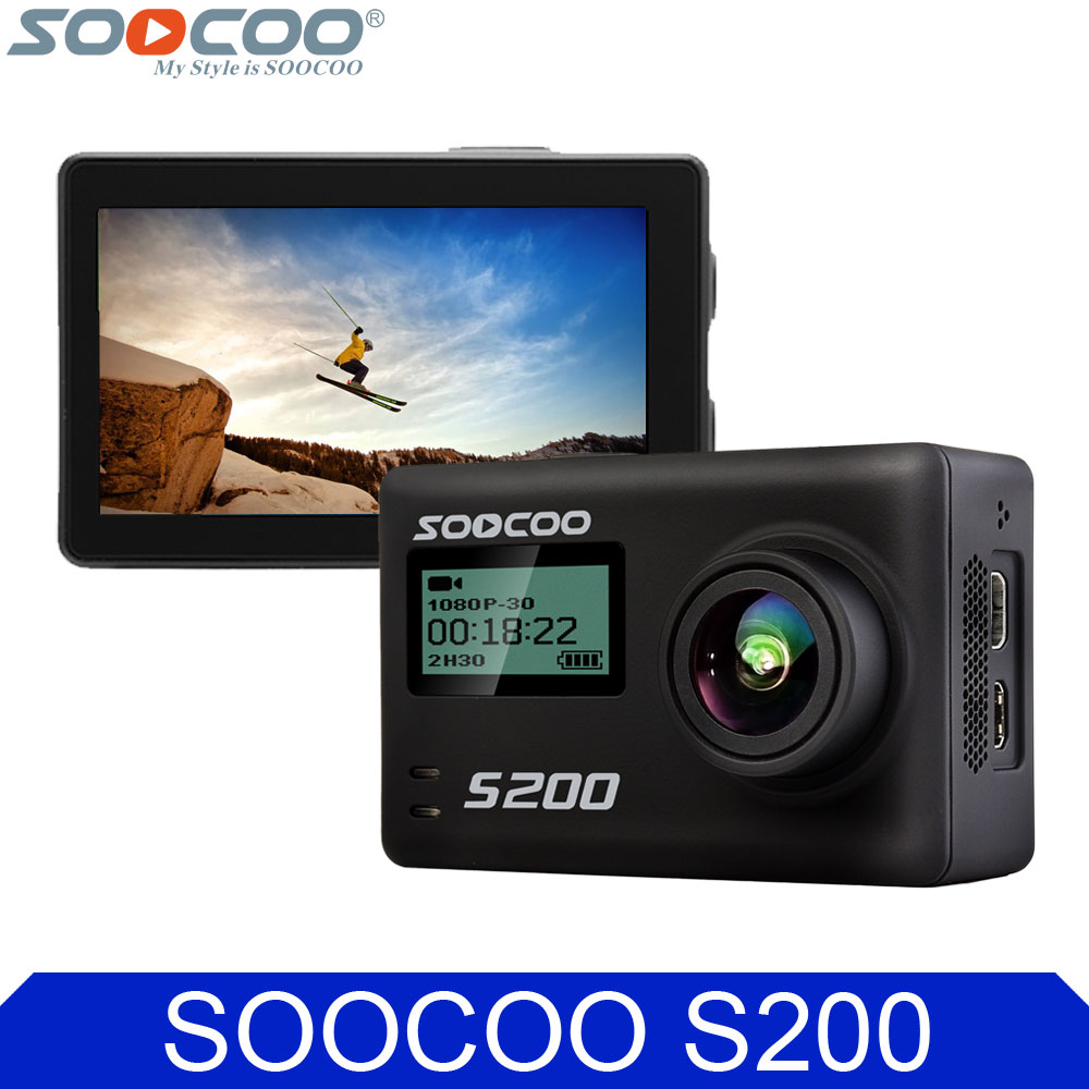 SOOCOO S200 4K 24fps Wifi Action Camera 2.45 Inch Touch Screen Voice Control Sport DV Support Remote Control Extend Mic and GPS
