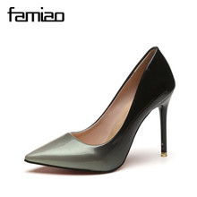 MS 2017 Women pumps Fashion pointed toe patent leather stiletto high heels shoes Spring Summer Wedding Shoes woman high heels