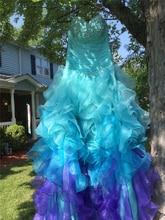 Bealegantom New 2019 Blue Purple Quinceanera Dresses Ball Gown Crystals Lace Up Vestido De Debutante Sweet 16 Party Dress QA1466