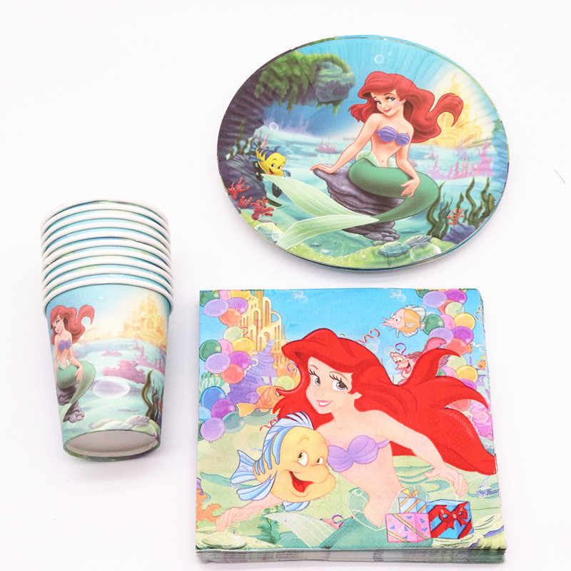40Pcs Mermaid cartoon  Party Decoration Plates Cups Napkins Cover  Baby Shower Birthday Decors Kids Party Supplies