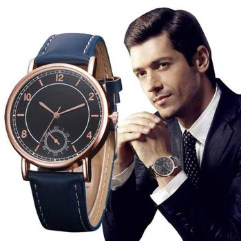 Retro Design Fashion hours watches men Casual Leather Band